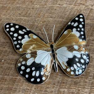 Jewelry - Vintage Sterling Silver Enamel Butterfly Brooch